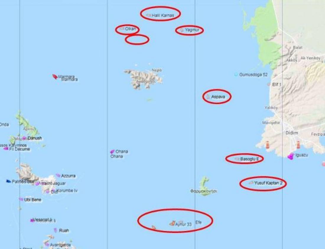 Φαρμακονήσι και Αγαθονήσι περικυκλωμένα από τουρκικά αλιευτικά