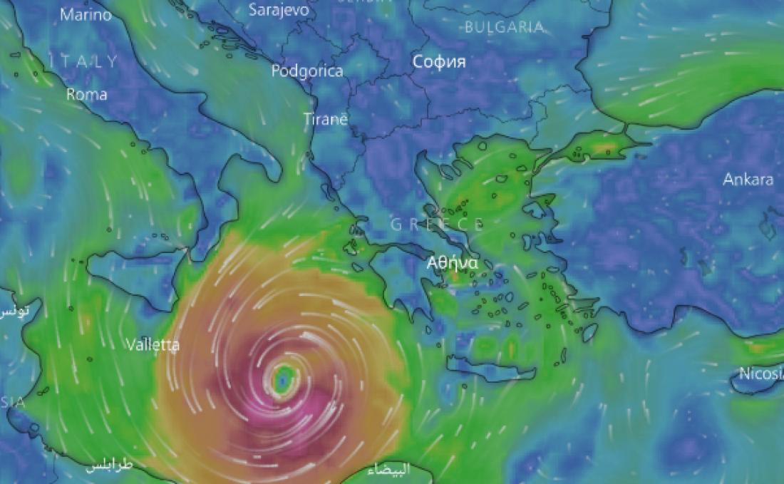 Προ των ελληνικών πυλών οκυκλώνας Ζορμπάς-Δείτε live την κίνησή του προς την Ελλάδα
