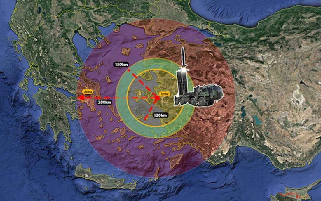 Αν η Αθήνα «πειράξει» την Άγκυρα, η Τουρκία θα πλήξει με πυραύλους στόχους σε νησιά και Αθήνα