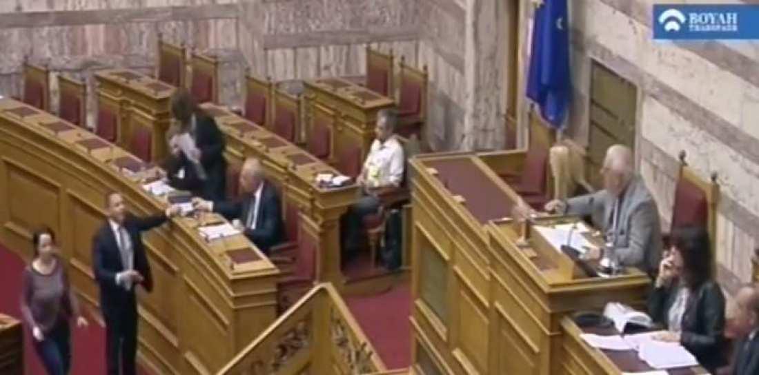 Άγριο επεισόδιο Κασιδιάρη-Παπανάτσιου στη Βουλή-Κινήθηκε απειλητικά εναντίον της (ΒΙΝΤΕΟ)