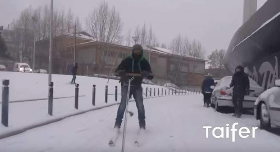 Τρελοί Θεσσαλονικείς κάνουν σκι στην Τούμπα! (BINTEO)