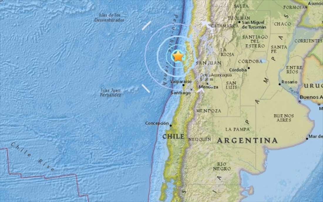 Σεισμός τώρα:  Σεισμική δόνηση μεγέθους 5,8 βαθμών σημειώθηκε ανοιχτά των ακτών της κεντρικής Χιλής